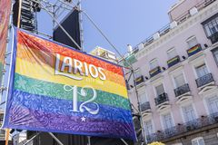 Madrid, Spain; July 06, 2019: Chueca neighborhood in Madrid, decorated during gay pride day celebrations