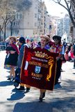 Madrid, Spain, March 2nd 2019: Carnival parade, Members of Raices del Peru association posing with traditional Peruvian costume