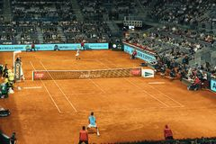 Madrid, Espagne ; 11 peuvent 2019 : Le centre de tennis de Caja Magica pendant le tennis 2019 ouvert de premier ministre Mandator photographie stock