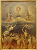 Madrid - Eucharist and the souls in purgatory. Paint in Iglesia catedral de las fuerzas armada de Espana. On March 10, 2013 in Madrid. in March 10, 2013 in royalty free stock image