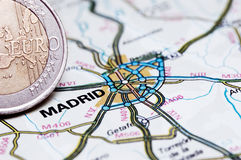 Madrid and Euro coin. Concept studio shot depicting current economic issues surrounding the Spanish economy and the Euro stock images