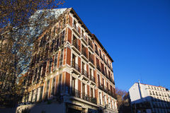 Madrid, Famous old building with the prospect painted Royalty Free Stock Photos