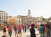 AT.MADRID fans at Plaza Mayor in Madrid Royalty Free Stock Image