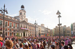 AT.MADRID fans at Plaza Mayor in Madrid Stock Image