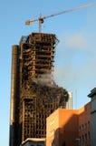 MADRID - 13. FEBRUAR: Gebrannte errichtende Windsor Tower in Madrid Lizenzfreie Stockbilder