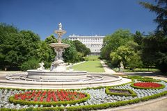 Madrid fountain palace at Campo del Moro Stock Photos