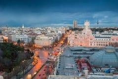 Madrid från Circulo de Bellas Artes Arkivbild