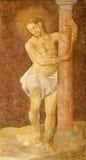 Madrid - Fresco of Flagellation of Jesus in gothic church San Jeronimo el Real Stock Photo