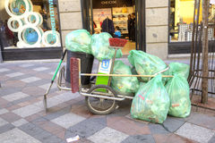 Madrid. Garbage bags Stock Image