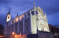 Madrid - Gothic church San Jeronimo el Real in evening Royalty Free Stock Photography