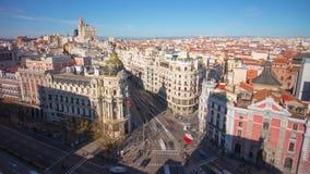 Madrid gran via traffic metropolis crossroad roof view 4k time lapse spain stock video footage