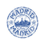 Madrid grunge rubber stamp. Blue grunge rubber stamp with the name of Madrid the capital of Spain written inside the stamp Stock Photo