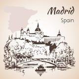 Madrid hand drawn street. Spain. Madrid hand drawn view. Spain.  on white background Stock Photos