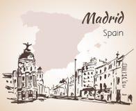 Madrid hand drawn street. Spain. On white background Royalty Free Stock Photos