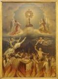 Madrid - heiliges Abendmahl und die Seelen im Fegefeuer. Farbe in catedral de Las Fuerzas Armada de Espana Iglesia lizenzfreies stockbild