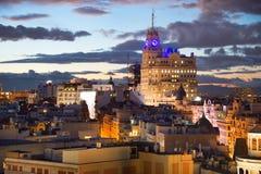 Madrid horisont på skymning spain Arkivfoto