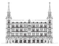 Madrid, house of Phillip III in Plaza Mayor, Sketch Royalty Free Stock Images