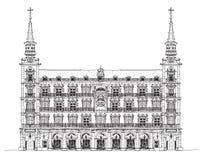 Madrid, huis van Phillip III in Pleinburgemeester, Schets vector illustratie