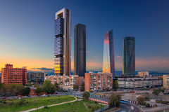 Madrid. Image of Madrid, Spain financial district with modern skyscrapers during sunrise Stock Photography
