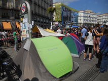 Madrid, indignados occupy Sol Square Royalty Free Stock Photography