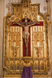 Madrid - Jesus on the cross. Side altar from San Jeronimo el Real Royalty Free Stock Image