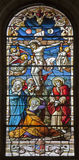 Madrid - Jesus on the cross. Windowpane from gothic church San Jeronimo el Real Royalty Free Stock Photo