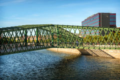 MADRID JULY 1, 2014: Manzanares River, a bridge and the Ribera d Stock Photos