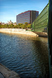 MADRID JULY 1, 2014: Manzanares River, a bridge and the Ribera d Royalty Free Stock Photos