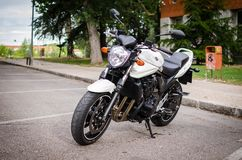 MADRID-JULY 7, 2014: Suzuki Bandit naked motorbike. Front view. MADRID-JULY 7, 2014: Suzuki Bandit naked motorbike edition 2012. Front view royalty free stock photography