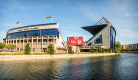 MADRID, JULY 1, 2014: Vicente Calderon stadium, home of Atletico de madrid. In Madrid, Spain on July 1, 2014. stock images