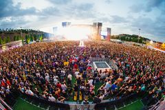 The Crowd in a concert at Download heavy metal music festival. MADRID - JUN 24: The Crowd in a concert at Download heavy metal music festival on June 24, 2017 in royalty free stock images