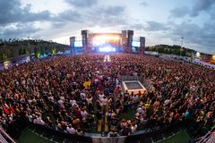 The Crowd in a concert at Download heavy metal music festival. MADRID - JUN 24: The Crowd in a concert at Download heavy metal music festival on June 24, 2017 in royalty free stock photos