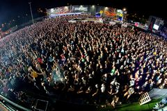 The Crowd in a concert at Download heavy metal music festival. MADRID - JUN 24: The Crowd in a concert at Download heavy metal music festival on June 24, 2017 in royalty free stock image