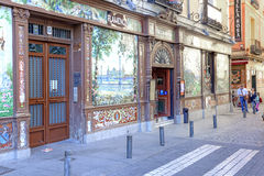 madrid Kafé var flamencoshowen Arkivfoto