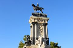 Madrid landmark. Madrid, capital city of Spain. Monument to Alfonso XII in Retiro Park Royalty Free Stock Photography