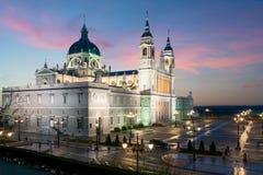 Madrid landmark at night. Landscape of Santa Maria la Real de La stock photo