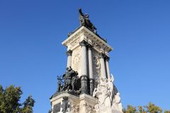 Madrid landmark. In Spain. Monument to Alfonso XII in Retiro Park Stock Images