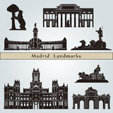 Madrid landmarks and monuments. On blue background in editable vector file Stock Images