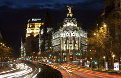 Madrid - look from Plaza de Cibeles in dusk to Cale de Alcala street Royalty Free Stock Photo