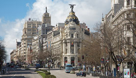Madrid - look from Plaza de Cibeles to Cale de Alcala Royalty Free Stock Photos