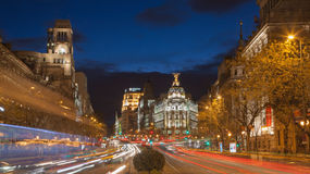 Madrid - Look from Plaza de Cibeles to Cale de Alcala street and Metropolis building in dusk. Royalty Free Stock Photos