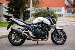 MADRID 7 LUGLIO 2014: Motocicletta bianca di Suzuki Bandit con l'impianto di scarico della fibra del carbonio Vista laterale Immagini Stock