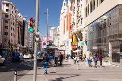 Madrid/Spain – 03.03.2019 : Madrid main street calle gran via with many shopping place stock photo
