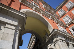 Madrid, maire de plaza dans la partie historique de la ville Photos stock