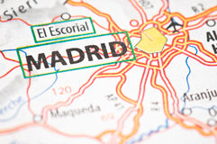 Madrid on a map Royalty Free Stock Photo