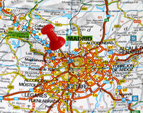Madrid. Map with pin point of madrid in spain Stock Photo