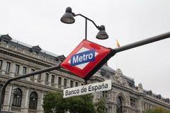 Madrid Metro Sign. Banco de Espana metro sign in Madrid Spain stock images