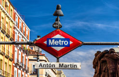 The Madrid Metro sign at the entrance to Anton Martin station Stock Photography