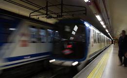 Madrid Metro Train Motion Stock Photo