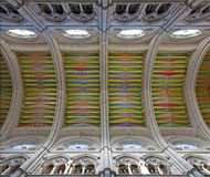 Madrid - Modern frescos from ceiling of Santa Maria la Real de La Almudena cathedral Stock Photo